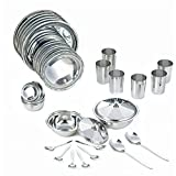 Neelam Premium Stainless Steel Dinner Set, 36-Pieces, Silver