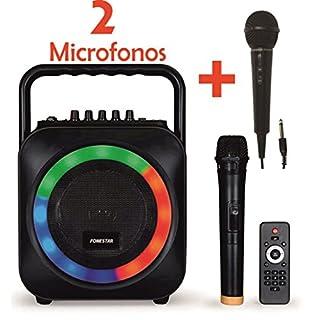 Karaoke Portabel mit 2 Mikrofone USB/SD/MP3 BOX-35LE mit 1 Mikrofon, drahtlos + Mikrofon, mit Kabel FDM-281, große Version