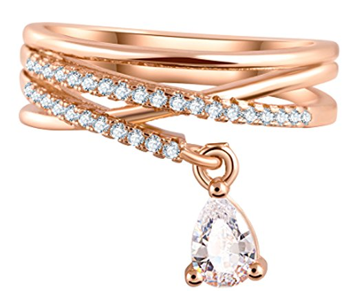 SaySure - Multilayer Cross Wedding Crystal Pendant Rings (SIZE : 8)