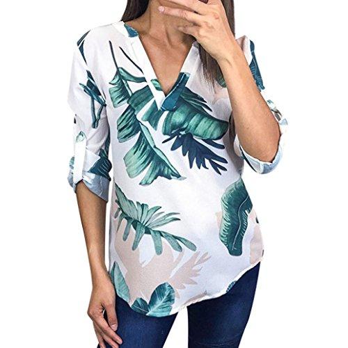 ASHOP Frauen Sommer Blumendruck Unregelmäßige Halbe Hülse T-Shirt Tops Bluse (XL, Weiß)