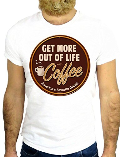 T SHIRT JODE Z2227 GET MORE OUR OF LIFE COFFEE COOL LOG VINTAGE ROCK USA NY GGG24 BIANCA - WHITE