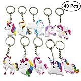 TOYMYTOY 40 pezzi Portachiavi Unicorn in metallo Design Keychain pendente sacchetto borsa anello portachiavi per Giorno bambini