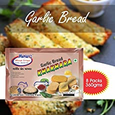 Maniarr Single Flavour Garlic Bread Khakhara Snacks, 360g - Pack of 8