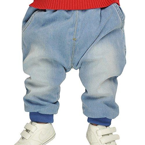 Iceybaby Neugeboren Baby-Hosen Jeans-Jungen 0-3-6-9-12 Monate Pure Baumwollgürtel Elastische Strick-Jeans kann den Gürtel öffnen auch für Baby-Girls geeignet (6-9M)
