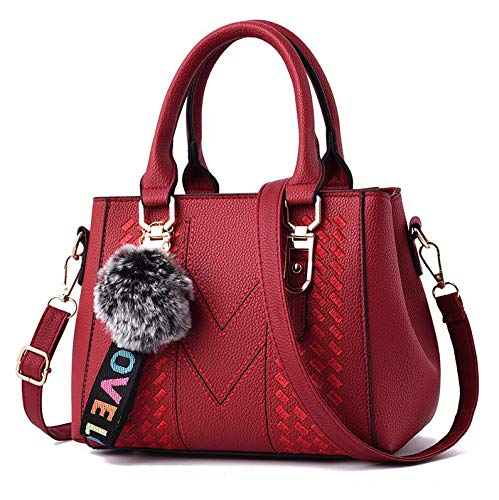 FANGDADAN Damen Umhängetaschen,Meine Damen Stickerei Messenger Bags Damen Leder Handtaschen Taschen Frauen Haare Ball Dekor Crossbody-Tasche, Wein Rot (Jelly Dekor Ball)