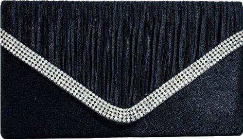 H&G Ladies Designer Satin Effect Pleated Flap Fashion Clutch  Evening Handbag with Diamantes Navy