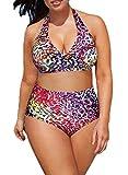 Azue Damen 2 Teile Bademode Groß Größe Sexy Bikini Set Oversize Badeanzug Hohe Taille Neckholder Schwimmanzug Mehrfarbig XXL: 48