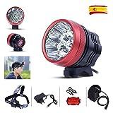 GHB Luces Delanteras Bicicleta LED Headlight Linternas Frontales Recargables 18000LM 9 x CREE XML T6 Lámpara de Bicicleta Focos Frontales con Batería