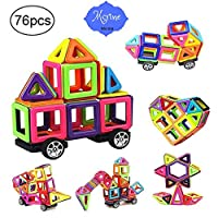 76 PCS Magnetic Tiles Building Blocks Set,STEM Building Block Preschool Educational Construction Kit DIY Creative 3D Magnetic Toys For Boys Girls Kids Toddlers Children With Storage Box