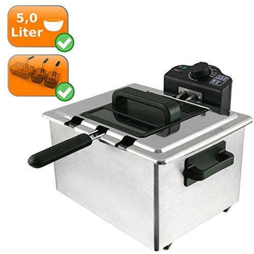 XL 5l Friteuse Inox avec 3paniers, thermostat réglable jusqu'à 190°C, Friteuse 2000W