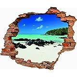 Vinilo decorativo pared 3D hueco paisaje playa del caribe 70cm x 57,81cm| Adhesivo Resistente y de Facil Aplicación | Multicolor|Pegatina Adhesiva Decorativa de Diseño Elegante|