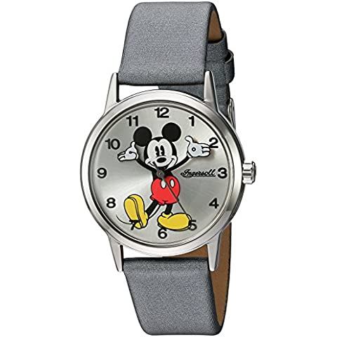 Disney Ingersoll Reloj de cuarzo para mujer con correa de PU Plata Esfera Analógica Pantalla y gris