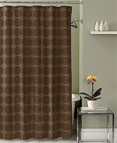 Shower Curtains chocolate brown shower curtains : Chocolate Brown Faux Silk Shower Curtain with 14 Textured and ...