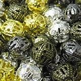 100pièces 8mm en métal creux/Filigrane Perles–Mixte–A6759