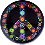 Morella Damen Glas Click-Button Druckknopf Flowerpower Peace Symbol