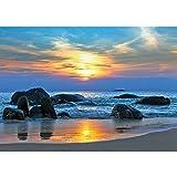 Vlies Fototapete PREMIUM PLUS Wand Foto Tapete Wand Bild Vliestapete - Strand Felsen Meer Wellen Sonnenuntergang - no. 453, Größe:300x210cm Vlies