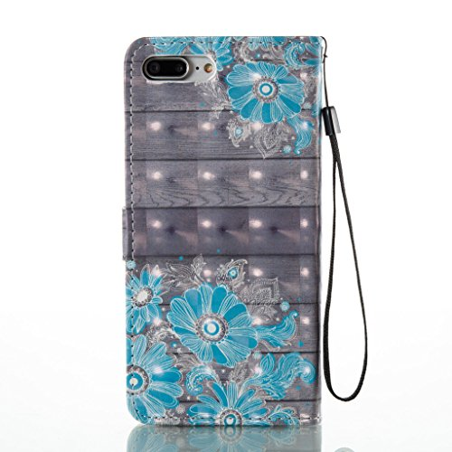 Folio PU Cuir Portefeuille Coque Case pour iPhone 7 Plus, Skitic Bling Diamant Cristal Bookstyle Cover Motif Imprimé Etui Housse avec Fonction Stand et les Fentes de Carte de Crédit pour Apple iPhone  Fleur bleue
