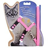#4: Cat Harness, Adjustable Harness Nylon Strap Collar with Leash, Cat Leash and Harness Set, for Cat and Small Pet Walking- Pink Color 1 Set