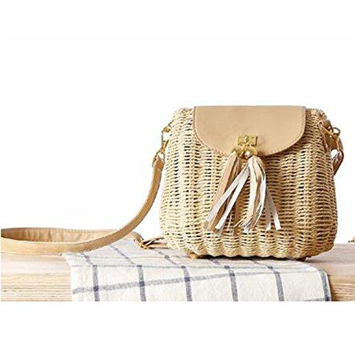 SUNAVY Damen Süß Stroh Schultertasche Tragbar Handtaschen Sommer Strandtaschen mit Quaste,Navy Beige