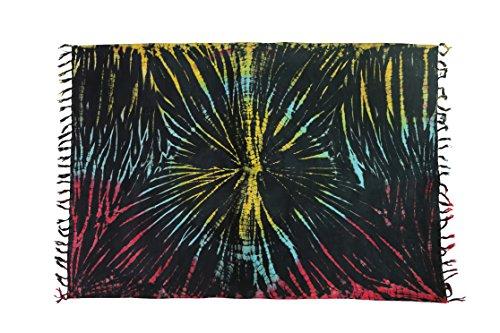 Telo coprente, come sarong, asciugamano da spiaggia, circa 170cm x 110cm, molti fantastici colori a scelta Schwarz Bunt Batik Rave