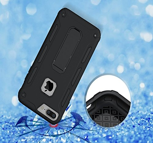YHUISEN IPhone 7 Plus Case, Cool Shockproof Rüstung Hybrid 2 In1 TPU und PC Robuste Dual Layer mit Kickstand Case für IPhone 7 Plus ( Color : Rose Gold ) Black