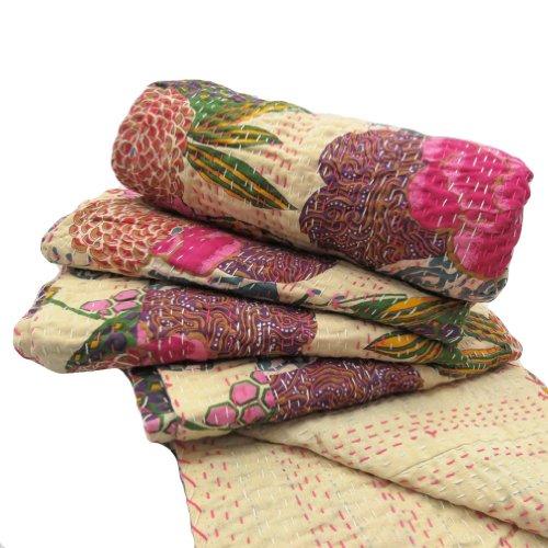 Handicrunch Cotton Kantha Quilt Reversible Beige Bedspread Floral HandcraftedBedsheet Home Décor