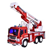 Fire Rescue Truck with Crane Toys Friction Powered Red and White Vehicle 1:16 With Light and Music 3 Batteries Included