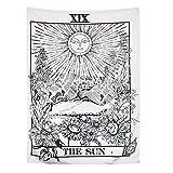 Tenture murale sur le thème du Tarot motifs Lun Étoiles et Soleil Tapisserie divinatoire de style européen médiéval, tenture murale mystérieuse idéale pour votre décoration intérieure(150x100cm)