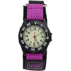 Affute Sports Waterproof Gift Watch with Canvas Nylon Strap Light Luminous for Boy Girl Kids Student (Purple)