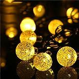 LED Solar Lichterkette Außen mit LED Kugel 6.5 M 30LED 8 Modi Wasserdicht Warmweiß Lichterkette mit Lichtsensor, Kristallbälle Weihnachtsdeko Dekorative Beleuchtung für Garten, Terrasse, Hof, Haus, Party