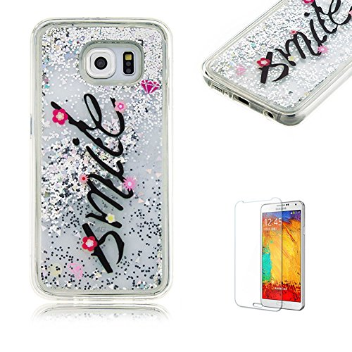 Samsung Galaxy S6 Case [with Free Screen Protector], Funyye Anti Scratch Unique Transparent Silicone Soft TPU Crystal Clear Glitter Bling Sparkle Flowing Liquid Colourful Printed Design Protective Back Case Cover Shell for Samsung Galaxy S6 - Smile Little Flower