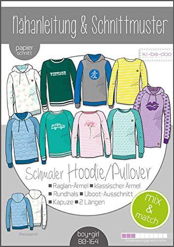 Papierschnittmuster Kinder Mix&Match Sweater Hoodie Schnittmuster und Anleitung als Broschüre Größe 80-164