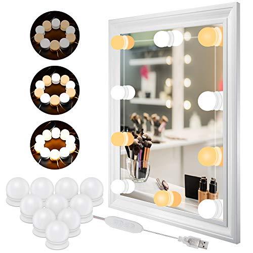 Led Spiegelleuchte Hollywood Stil 10 Dimmbar Schminklicht Make Up Licht, WZOED Schminktisch Spiegel Leuchte, Schminkleuchte, Spiegellampe für Kosmetikspiegel, Schminktisch/Badzimmer Spiegel (Make-up-spiegel-leuchten)