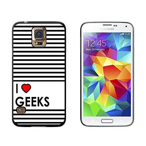 ouucase Cœur I Love Geeks Coque de protection rigide pour Samsung Galaxy S5-Noir DIY HD Housse PC Pour New Design