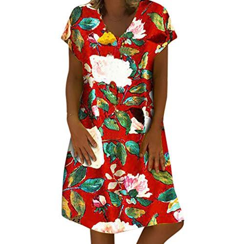 merkleid Baumwolle Leinen Kleider,Kurzarm Blumendruck V-Ausschnitt Strandkleider A-Linie Boho Knielang Kleid Lose Große Größen Shirtkleid ()