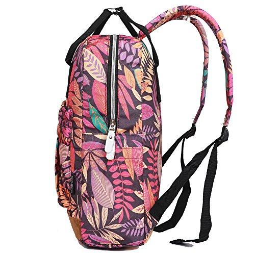 EGOGO Student Rucksack Handtasche Tasche Große Kapazität Rucksack Sporttasche Lila Blätter