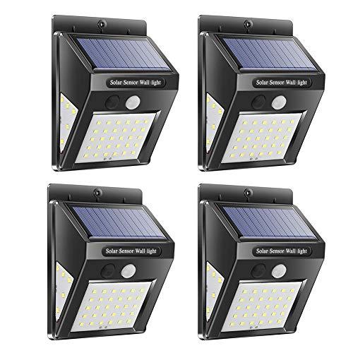 JUNERAIN Solar Lamps Waterproof PIR Motion Sensor Outdoor Garden Security Wall Light 40led(4pcs) (Motion Light Solar Outdoor)