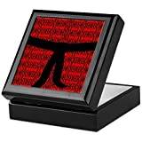 CafePress–Martial Artist schwarz Gürtel Rot–Keepsake Box, fertig Hartholz Jewelry Box, Samt Gefüttert Memento Box schwarz