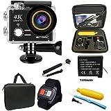 4K Action Cam WIFI 1080P/60FPS,2.4 G Fernbedienung,45M Unterwasserkamera mit 1500mAh Akkus und Zubehör Kits für Drone, Surfen, Tauchen und andere Outdoor-Sportaktivitäten