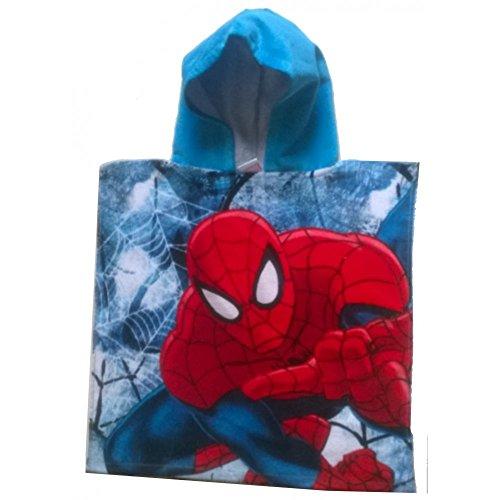 Spiderman - Poncho - cape de bain à capuche Spiderman bleu - unique