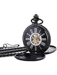 ManChDa Doble cazador Steampunk Retro Reloj De Bolsillo Mecánico De La Mano-viento De Metal Negro