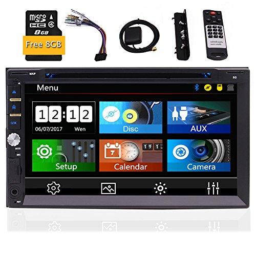 EINCAR 7-Zoll-Double 2 Din kapazitive Screen-Auto GPS-Spieler Wince 8.0-System mit Bluetooth USB/TF AUX-IN-Fernbedienung SWC Unterstützung Subwoofer GPS Navigation + Free 8GB Karte