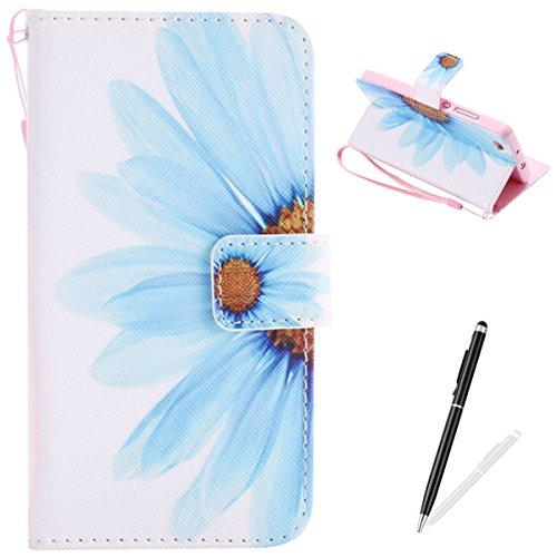 Feeltech HUAWEI P8 Lite Hülle PU-Leder und Brieftasche Bunte Muster Fall mit Magnetverschluss, Hybrid-Kickstand mit Stand-Funktion, schlagen Sie schützende weiche TPU Stoßstangenabdeckung und Kreditkartenhalter für HUAWEI P8 Lite Handgelenk Bügel-Buch-Art-Geldbeutel-Tasche mit 2 In 1 Berühren Sie Stift - Sonnenblume