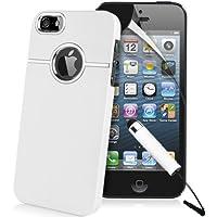 Weiß Supergets Hülle für Apple iPhone 5 Case Schale Cover aus Baumharz mit Aluminium Silberfarbig Chrom Drahtziehen Optik und Schutzfolie