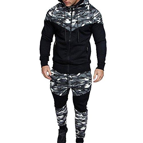 Rera Homme Ensemble de Sport Imprimé Camouflage 2 Pièces Sweatshirt Veste à Capuche Casual Manches Longues Pantalon de Sport Survêtement de Jogging Fitness Workout Rera