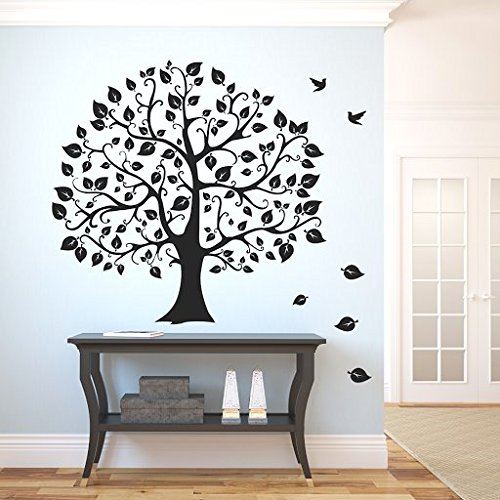 DeStudio Hand Drawn Big Tree And Birds, Multi Color, Wall Stickers (Wall Covering Area : 108cm X 102cm)-11326