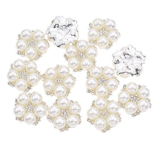 Hongma 12x 24/23/32mm Perlen Blumen Knopf F/D/H Form Brautkleider Verzierungen Button DIY