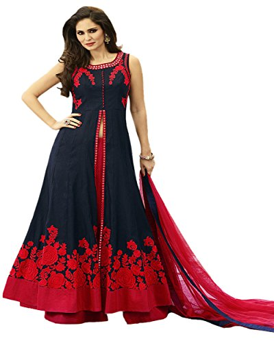 Jsv Fashion Women\'s Cotton Silk Gown (foil blue__Blue_Free Size)