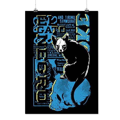 Gato Neger- Gruselig Katze Hexe Haustier Mattes/Glänzende Plakat A1 (84cm x 60cm) | Wellcoda