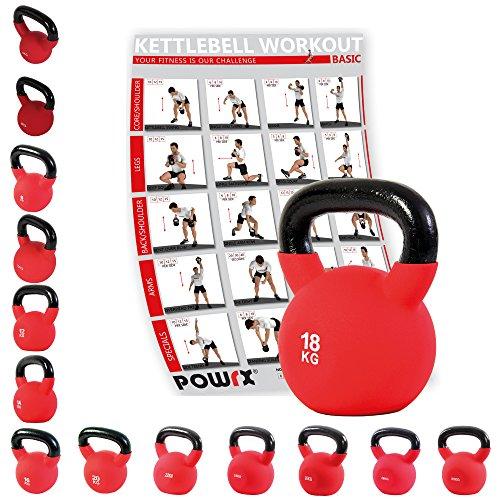 Powrx Kettlebell Kugelhantel Neopren 4 - 30 kg